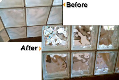 Example of Before and After Block Glass Repair
